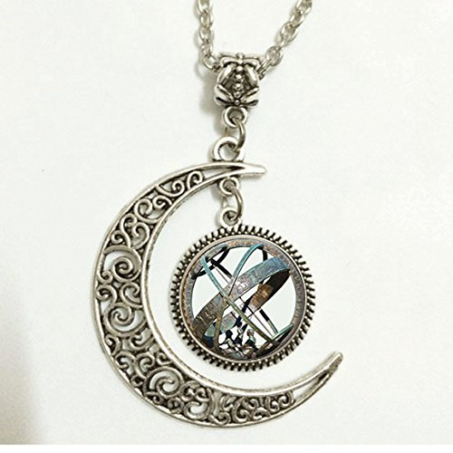 Dial Silver Sun (Charm Crescent Moon Astronomical Sundial Globe Pendant Astronomy Necklace Aqua Bronze Astrological Vintage Astronomy Science Jewelry, Not an Actual Sundial)