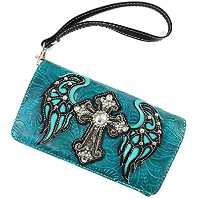 Justin West Western Laser Cut Wing Turquoise Cross Gleaming Messenger Handbag with CrossBody Strap