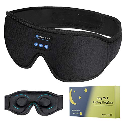 Sleep headphones With Timer ,Bluetooth 5.0 Wireless 3D Eye Mask, Bluetooth Sleep Mask with Built-in Sponge Speakers for Side Sleepers, Wireless Sleep Headphone for Sleeping, Air Travel, Meditation