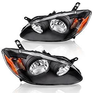 For Toyota Corolla 2003-2008 Headlamp Black Housing Amber Reflector Clear Lens Driver & Passenger Headlights, One Year Warranty 8115002350 8111002360