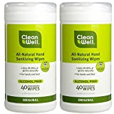 CleanWell All Natural Disinfecting Wipes with Antimicrobial Thyme Oil, Citrus and Lemon Scent, 40 wet wipes (Pack of 2)