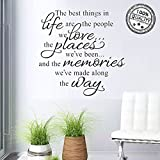 Wall Stickers The Best Things in Life Wall Decal Words Quote Wall Art Sticker Home Decor for Bedroom Living Room 22.8 X 14.7 in (Black)