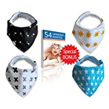 Amazon Price History for:Baby Bandana Drool Bib, Unisex 4 Pack of Extra Absorbent 100% Organic Cotton, Baby Cute Gift Set for Boys and Girls, By Cool4Baby
