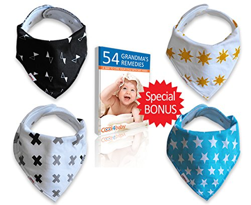 Baby Bandana Drool Bib, Unisex 4 Pack of Extra Absorbent 100% Organic Cotton, Baby Cute Gift Set for Boys and Girls, By Cool4Baby