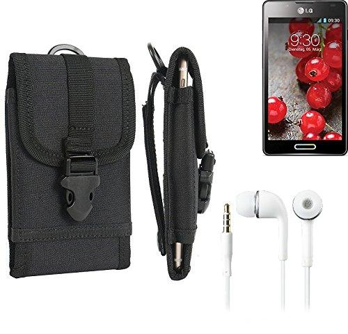bolsa del cinturón / funda para LG Electronics Optimus L7 II, negro + Auriculares   caja del teléfono cubierta protectora bolso - K-S-Trade (TM)