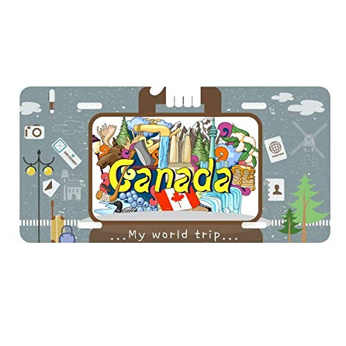 DIYthinker Rocky Mountains CN Tower Maple Canada License Plate Car Decoration Tin Sign Travel