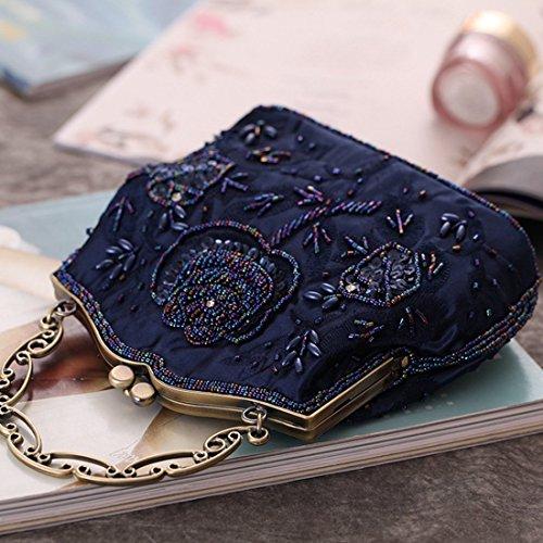 Cuentas Pequeño Negro Bolso De Mano De color De Retro Color Bolso Noche Cartera Cuadrado De La Marino Azul Bolso Kervinfendriyun 7wgYqz