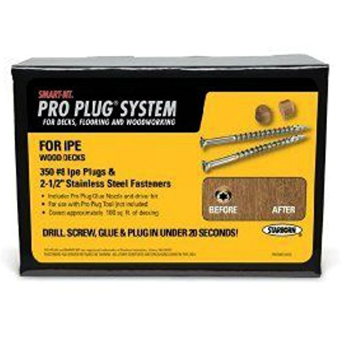 - Starborn Industries IPE Pro Plug System For Wood Decking Kit - 100 Sq Ft with #8 x 2-1/2