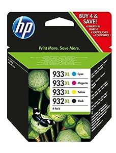HP 932XL-933XL 4 Pack Set- Black and Color Inkjet Set 1 HP 932XL Black CB053AN
