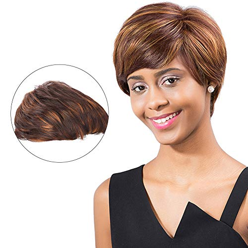 Women's Brown Short hair Fashion Natural Straight Wigs Cosplay Party Halloween Heat Resist Costume Wigs for Fancy Dress -