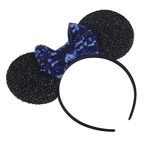 Kewl Fashion Sequins Bowknot Mickey Mouse Ear Headband Headwear for Travel Festivals (Royal Blue)