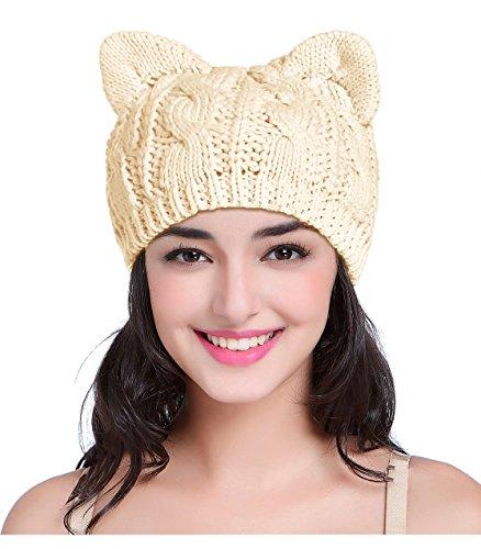 V28 Hand Made Fashion Women Boy Girl Crochet Knit Winter Cat Deer Xmas Caps Hats (Medium, Cat Ear (Cat In The Hat Custome)