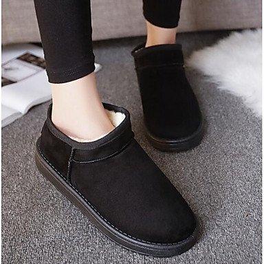 Winter Schneestiefel Absatz SHAOYE Kaffee Damen Für Grau Stiefeletten Stoff Schwarz Flacher Schuhe Booties Stiefel Modische PU Stiefel Normal wpqXvInq