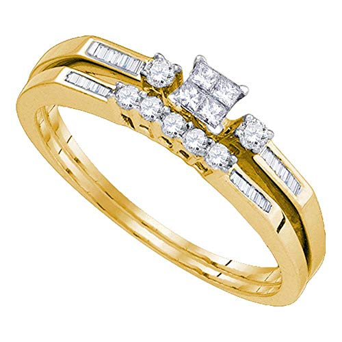 Jewel Tie - Size 5.5 - Solid 10k Yellow Gold Princess Cut Diamond Slender Wedding Bridal Engagement Ring Band Set (1/3 Cttw.) (Diamond Set Bridal Invisible)