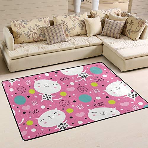 MALPLENA Endearing Kitty Rugs for Living Room Doormat Carpet Floor Mats Shoes Scraper for Living Room/Dining Room/Bedroom/Kitchen Non Slip