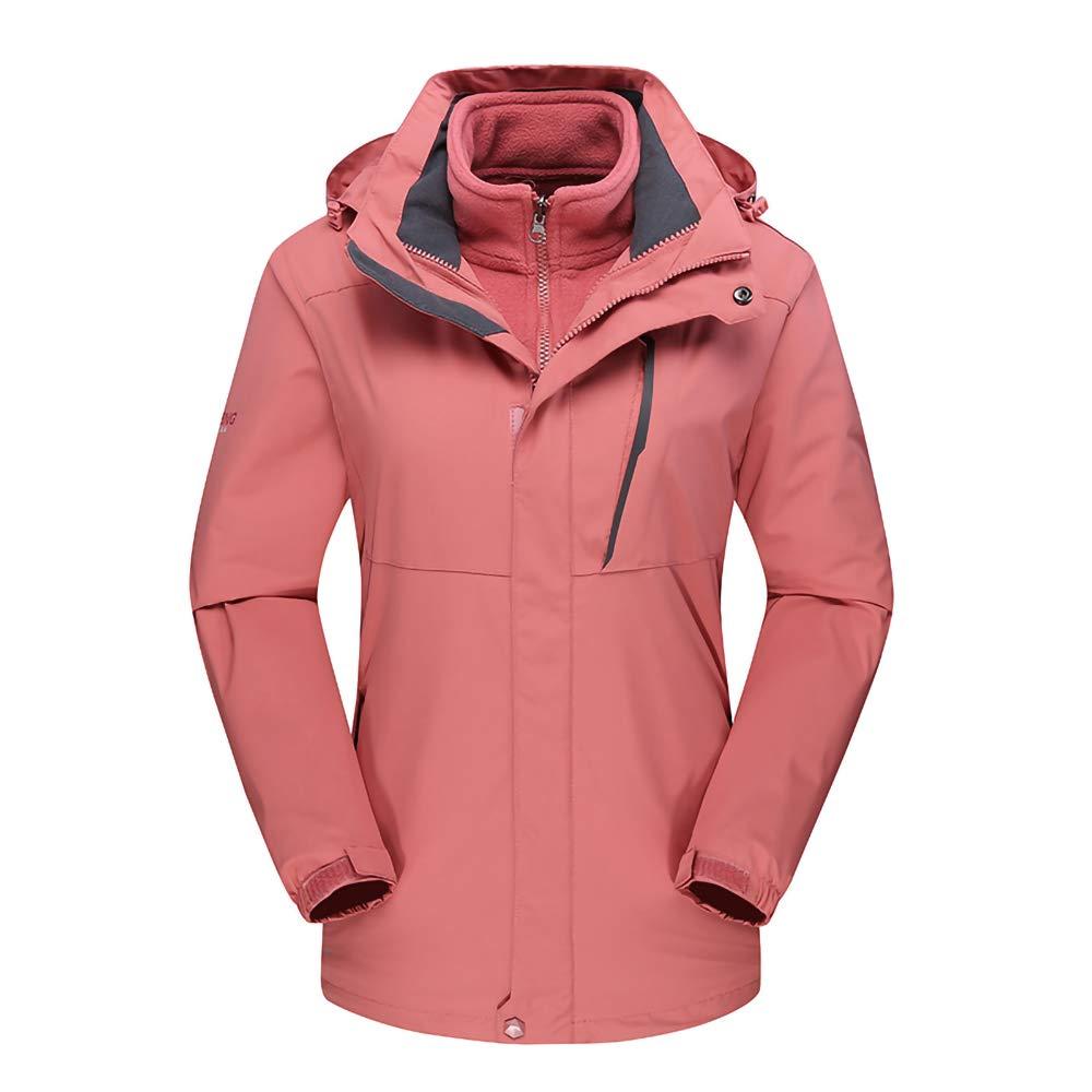 Damen Softshell Jacke Skianzug Verdickt 3 in 1 Zweiteilige Winddichte Warme Jacke Herbst Und Winter Outdoor-Bergsportbekleidung