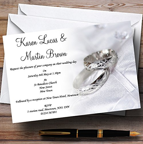- Classy White And Silver Rings Personalized Wedding Invitations