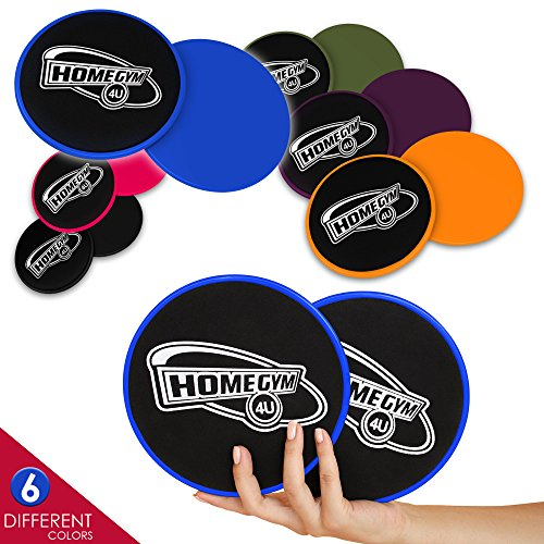 HomeGym 4U Set of 2 Gliding Discs - Excellent Sliders for Carpet or Hardwood Floor - Great Addition To Your Home Gym - Perfect for Core Workout Abdominal Exercise & Cardio Training (Blue)