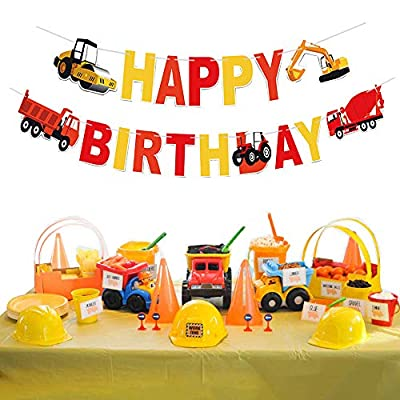 Jshend Boys Birthday Construction Theme Birthday Tractor Banner Construction Zone Birthday Party Excavators Bulldozers Dump Trucks Cement Trucks Decorations Garland Supplies(JS133): Toys & Games