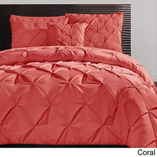 4 Piece Coral Pinch Pleated Comforter King Set, Chic Plush Pinched Pleat Pintuck Diamond Tufted Textured Bedding, Stylish Pin Tuck Puckered Texture Themed, Salmon Rose Pink (Bedding Tuck Pin)