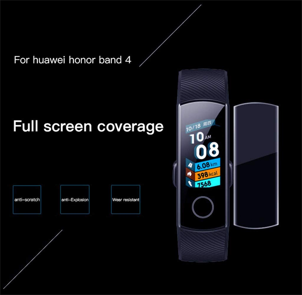 Cywulin for Huawei Honor Band 4 Screen Protector, Ultra-Thin Flexible TPU Scratch Resistant Film HD Clear Anti-Scratch for Huawei Honor Band 4 Smartwatch Full Coverage Protective Accessories (5 Pack)
