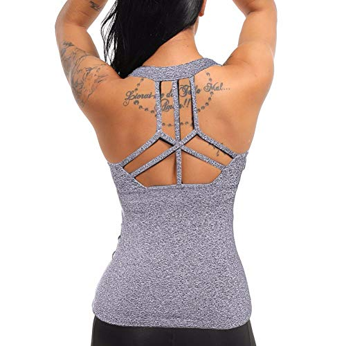 Basketball Womens Tank Top - COLO Women Yoga Tank Top Workout Tops Open Back Racerback Built in Bra Removable Pad -Cross Grey(L)