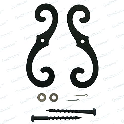 - Pair of Large Textured Black Iron S Holdback Window Shutter Holders