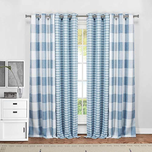 Blackout365 Home Fashion Plaid Gingham Checkered Blackout Darkening Grommet Top Window Curtains Pair Drapes for Bedroom, Living Room-Set of 4 Panels, 37 X 84, -