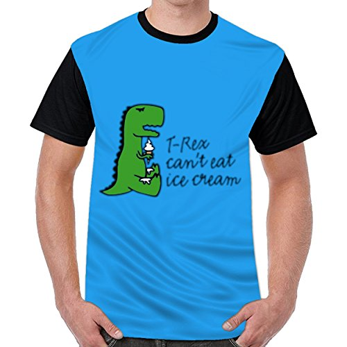 MordenCabin T Rex Can't Eat Ice Cream Mens Printed Crew Neck t Shirts Short Sleeve T-Shirt Royal Blue