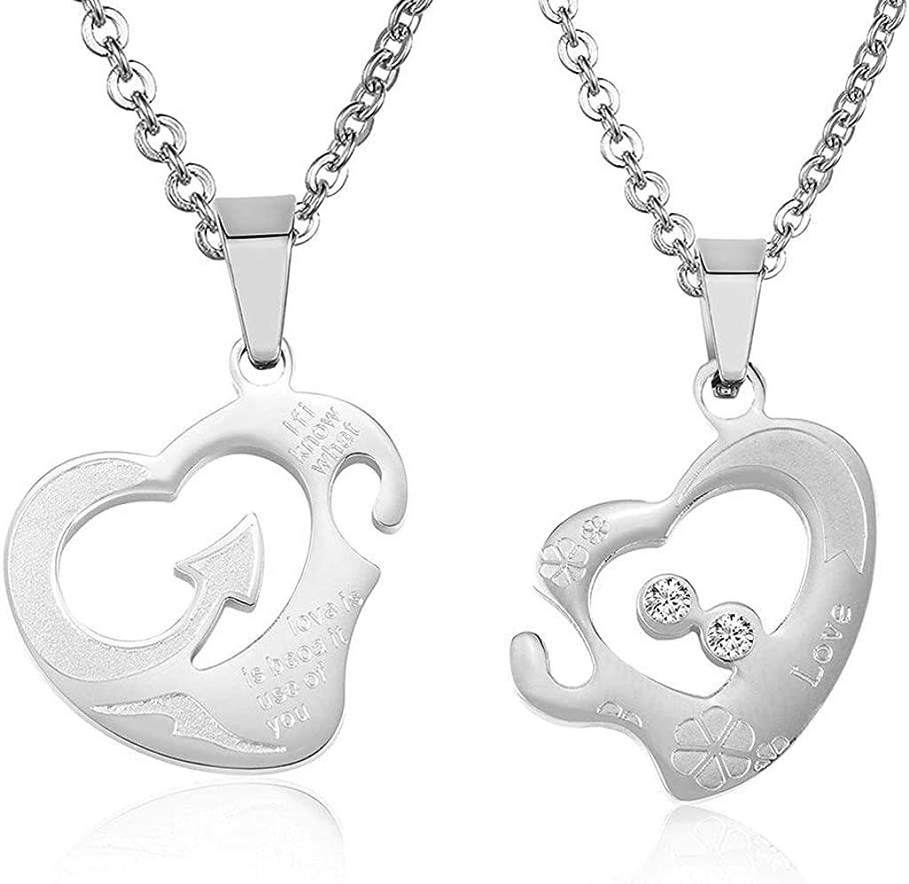 LOPEZ KENT His /& Hers Necklace Set Couples Stainless Steel Heart Puzzle CZ Arrow Heart Puzzle Pendant