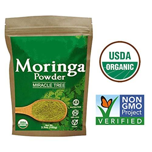 - Premium Organic Moringa Leaf Powder. 100% USDA Certified, 3.5 Oz, All Natural Energy Boost, Raw Super food, Multi-Vitamin, No GMO, Gluten Free, Great in Green Drinks, Smoothies