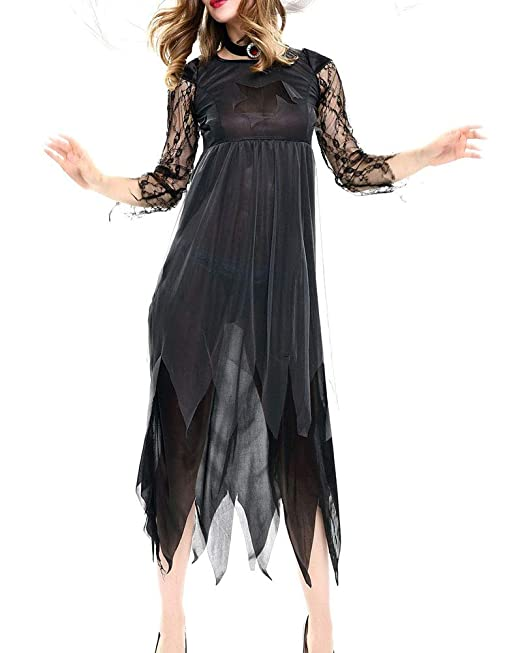 Novia Fantasma Halloween Cosplay Carnaval Ropa Traje de Encaje Negro Negro M