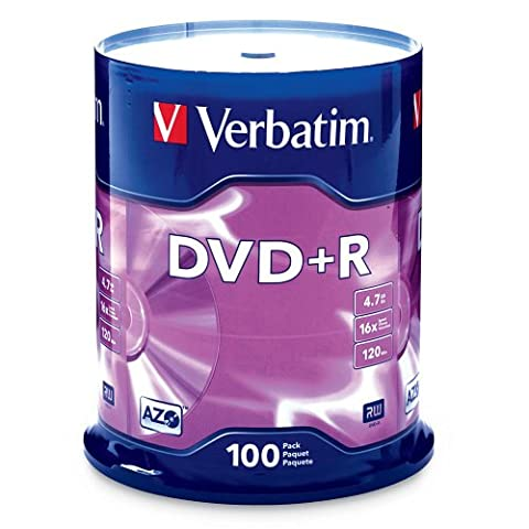 Verbatim 4.7GB up to 16x Branded Recordable Disc DVD+R 100-Disc Spindle FFP 97459 - These Discs