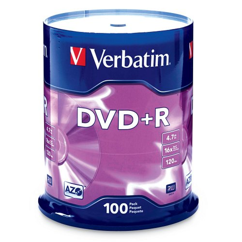 Verbatim DVD+R 4.7GB 16x AZO Recordable Media Disc - 100 Disc Spindle (FFP) - 97459
