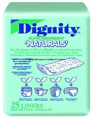 "Units Per Pack 25 Dignity Naturals Pads Capacity 13 oz Pad 4"" x 12"" HUMANICARE INT"