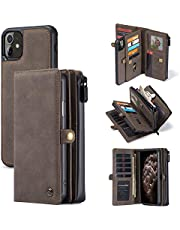 Bpowe iPhone 11 Wallet Case, Zipper Purse Folio Magnetic Leather Wallet Protection Card Slot Holder Detachable Slim Magnetic Back Cover for iPhone 11 6.1 inch (Coffee)
