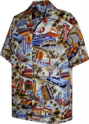 (Hawaiian Aloha Shirt Scenic Route 66 Beige (Made in Hawaii))