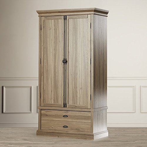 (EHOME SUPERSTORE LLC Antique Country Chic Entertainment Armoire Wardrobe Cottage Style Salt Oak Finish Adjustable Interior Shelves Exterior Drawers Living Room Guest Bedroom Furniture Décor)