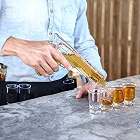 Whiskey Decanter and Glass Set, Unique Gun Shape – 2 Gun Liquor Decanters, 8 Shot Glasses, and Carrying Case – Fun, Stylish Party and Wedding Drinking Accessories and Barware