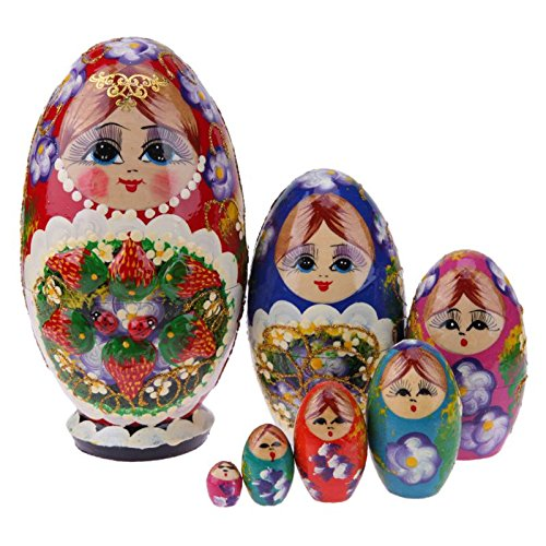 GreenSun TM 7Pcs/Set Colorful Strawberry Girls Pattern Russian Matryoshka Dolls Wooden Fun Stacking Russina Nesting Doll Handmade Crafts by GreenSun