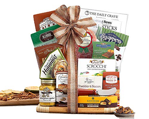 Cutting Board Gift Board Salami, Crunch Mix, Truffles, Hummus, Bagel Chips, Dried Fruit and Nut Mix -