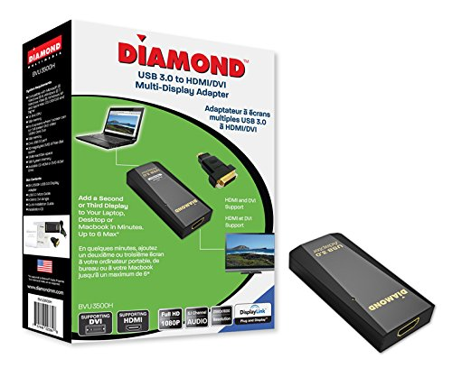Diamond Multimedia USB 3.0 to DVI / HDMI Video Graphics Adapter up to 2560x1440 / 1920x1080 - Windows 10, 8.1, 8, 7, XP, MAC OS and Android 5.0 and higher