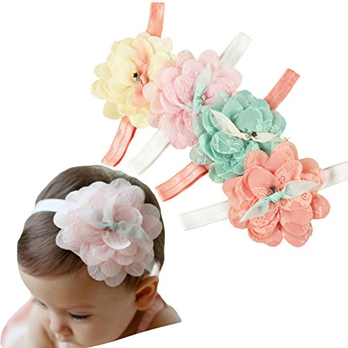 Baby Girl Super Elastic Headband Big Lace Petals Flower Baby Hair Band Toddler Soft Headwrap Set Hair Accessories