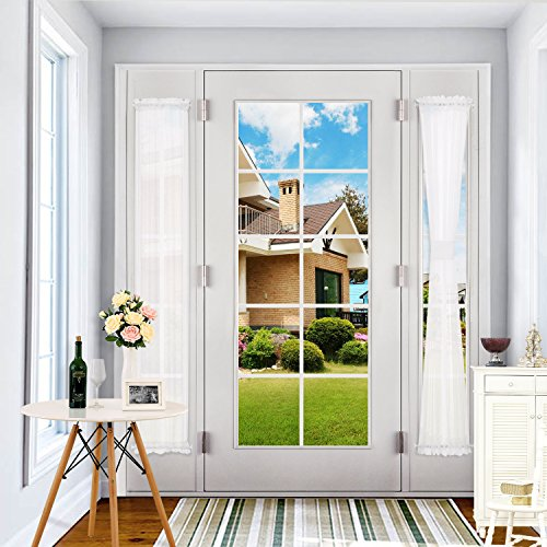 Deconovo Classic Rod Poket Curtains Sheer Voile Window panels 72 inch Sheer Curtain for Sliding Glass Door 30 Inch Wide White 1 panel Voile Side Light Curtain Panel