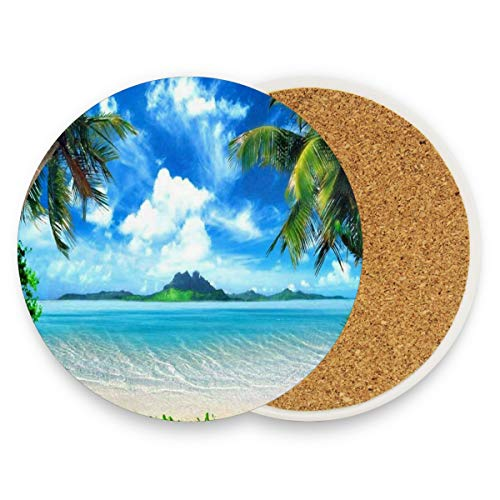 Palm Tree Sea Island Green Sky Cloud Coasters, Protection For Granite, Glass, Soapstone, Sandstone, Marble, Stone Table - Perfect Cork Coasters,Round Cup Mat Pad For Home, Kitchen Or Bar 1 Piece