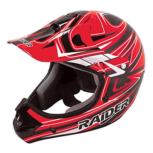 Raider Youth Kids Rush MX Motocross ATV Off-Road Helmet (Red, (Raider Atv Helmets)