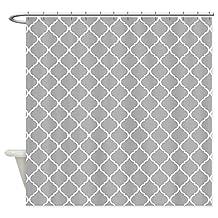 CafePress - Elegant Light Grey Moroccan Lattice - Decorative Fabric Shower Curtain