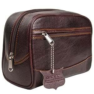 Parker Safety Razor's Handmade Buffalo Leather Travel Toiletry Bag Dopp Kit for Men