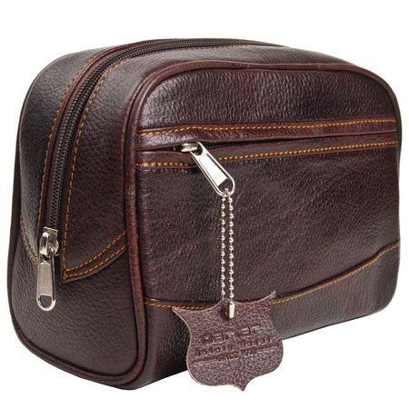 Parker Safety Razor's Handmade Buffalo Leather Travel Toiletry Bag Dopp Kit for Men