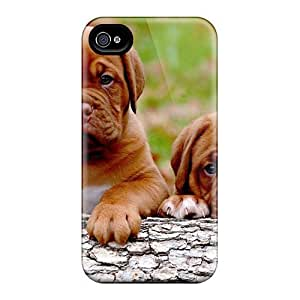 Tpu Fashionable Design Bordeaux Puppies Rugged Case Cover For Iphone 4/4s New